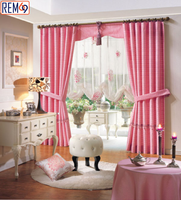 rèm vải màu hồng hải phòng